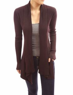 Amazon.com: Patty Women Stunning Shawl Ridded Collar Long Sleeve ...