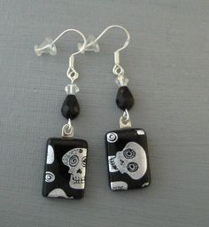 Silver and Black Halloween Earrings Halloween Jewelry by GlassCat, $20.00  Carol makes the best jewelry!!!