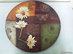 PINTURA CREATIVA Y DECORATIVA EN KAMBILA ARTE Wood Crafts, Diy And Crafts, Wooden Cutouts, Lazy Susan, Wooden Signs, Painting On Wood, Chalk Paint, Decoupage, Mixed Media