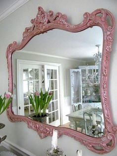 Shabby Chic Decor ● Painted Mirror - http://ideasforho.me/shabby-chic-decor-painted-mirror/