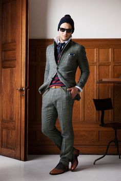 LOOK4 FALL 2013 MENSWEAR Gant by Michael Bastian | Red and blue stripes under suit coat
