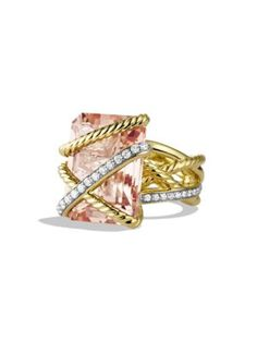 David Yurman - Cable Wrap Ring with Morganite and Diamonds in Gold