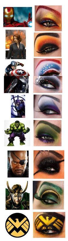 Hace poco hizo unos diseños que se relacionan directamente con el mundo geek. Llevó a cabo varios maquillajes de ojos con estilo de los personajes de la película The Avengers.