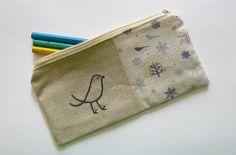 Blue bird pencil case or zipper pouch. hand by edwardandlilly, $35.00