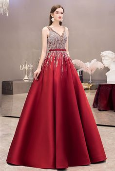 A-line Party Dresses Gorgeous Rhinestones Embellished Satin - LeShine Bridal - Prom Dresses Formal Evening Party Cocktail Homecoming Dresses - Plus size dresses - Bride Dresses Masquerade Ball Gowns, Ball Gowns Prom, Ball Gown Dresses, Party Dresses, Pageant Dresses, Quinceanera Dresses, 15 Dresses, Formal Dresses, Long Gown Elegant