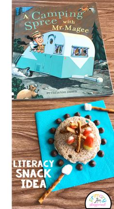 Literacy Snack Idea Camping + Free Printable  #campingsnack #literacysnack #booksnack #bookactivtiy #kindergarten #camping
