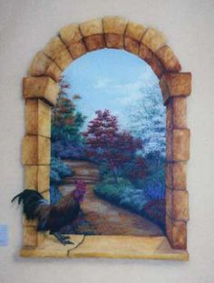 This mural with an arched trompe l'oeil effect gives a potential home owner an imaginative look at what the future development will look like. Description from trompe-l-oeil-art.com. I searched for this on bing.com/images