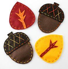 Sewing: Acorn & Leaf Felt Fall Coasters