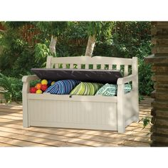 The Eden garden bench doubles as a deck box to protect outdoor items. It features comfortable seating for two adults with an angled back and armrests. The bench seat opens up to a 70-gallon lockable storage bin that will keep cushions, pillows, garden tools or other outdoor accessories protected. Also available in brown.