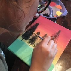 Read Wild: Hosting a Bob Ross Painting Party — Teen Librarian Toolbox Bob Ross Wig, Acrylic Paint Brushes, Bob Ross Paintings, Teen Programs, Love Painting, Paint Party, Toolbox, Stress And Anxiety, Party Themes