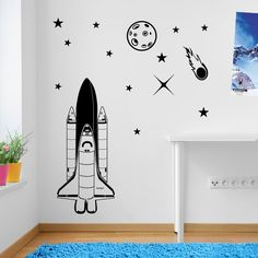 Rocket to Mars, Solar System Space Astronomy, Planets 06 Wall Decorations Window Stickers Wall Decor Wall Stickers Wall Art Wall Decals Stickers Wall Decal Decals Mural Décor Diy Deco Removable Wall Decals Colorful Stickers: Amazon.co.uk: Kitchen & Home