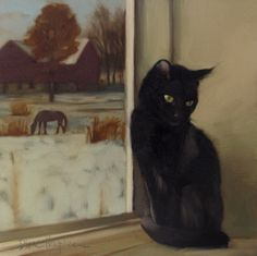 Rural Recluse a new cat painting, painting by artist Diane Hoeptner