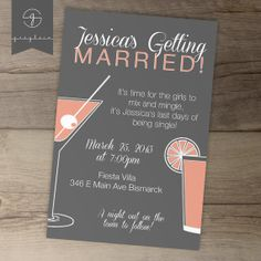 Fun Bachelorette Party Invites / Invitations / Salmon by greylein, $14.99