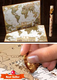 with US States /& Canadian Provinces World Traveller Decor by Beatnik /& Rustic 24 Scrapbook Stickers /& Bucket List Fun Gifts for Graduation or Teachers Gold Scratch Off World Map Poster A Travel Journal for your Wall