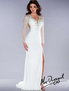 Jersey Mac Duggal pageant dress has a V-neckline with sheer and beaded long sleeves, gorgeous fitted bodice adorned with small and large AB stones, and a sexy side cut out. A floor length skirt with a side slit completes this Mac Duggal pageant dress. White Pageant Dresses, Open Back Prom Dresses, Prom Dresses Long With Sleeves, Prom Dresses 2017, Long Prom Gowns, Backless Prom Dresses, Black Prom Dresses, Pageant Gowns, Pretty Dresses