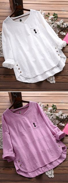 Embroidery Cat Hollow Out Loose Cotton Shirt for Women can cover your body well, make you more sexy, Newchic offer cheap plus size fashion tops for women. Shirt Embroidery, Embroidery Fashion, Embroidery Patterns, Crochet Patterns, Crochet Ideas, Embroidery Jewelry, Diy Fashion, Trendy Fashion, Dress Fashion