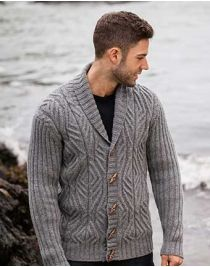 Mens Cabled Shawl Collar Cardigan with Ribbed Sleeves