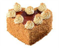 Dortové srdce Karamelové Slaďoučký karamelový dort je tvořen lehkým světlým korpusem, čokokřupinkovou vrstvou a karamelovým krémem.Top tvoří karamelový miror a obalen je lehkými ořechovými burizonky.