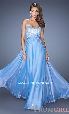 Long Open Back Strapless Gown at PromGirl.com---- love it n nude and black