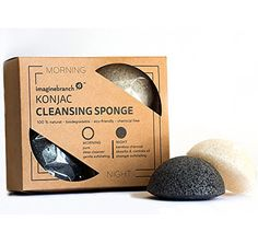 Pure Konjac Activated Charcoal Facial Sponge | 2 Pack for Exfoliating & Cleansing Normal, Sensitive, Oily & Acne Prone Skin Morning & Night from Imagine Branch
