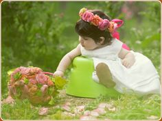 Cheery Pink and Coral Flower Girl Headpiece and Pave Basket