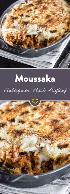 Moussaka: Der geniale Auberginen-Hack-Auflauf der Griechen The Greek answer to Italian lasagna: for minced meat ragout and béchamel, this recipe features aubergine slices instead of pasta and bread crumbs and full cheese. Greek Recipes, Italian Recipes, Healthy Eating Tips, Healthy Recipes, Law Carb, Italian Lasagna, Greek Lasagna, Musaka, Italy Food
