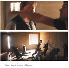 Oh wow, I didn't realise this the first time i saw it! I am kind of confused as to why it is Tobias hitting Marcus, when in the book it was Tris who whipped him with his own belt. Divergent Trilogy, Divergent Insurgent Allegiant, Divergent Jokes, Veronica Roth Books, Erudite, Book People, The Fault In Our Stars, Love Movie, Hunger Games