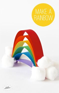 Easy to make rainbow yay! Materials needed: Cotton balls, coloured paper, scissors, glue and a stapler.