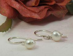 Pearl Earrings  white freshwater pearls and by KathrynRiechert, $16.00