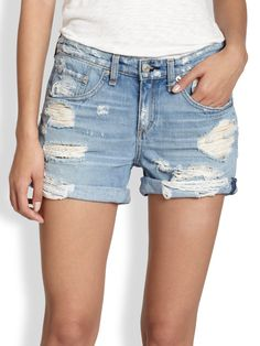 RAG  BONE Blue Distressed Rolledcuff Denim Shorts $175   FREE WORLD SHIPPING..PICK UP YOUR ORDER FROM US AND RECEIVE 10% OFF