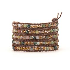 Wrap Bracelet - India Agate on Brown Leather   Talulah Lee