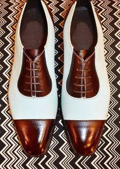 Handmade Two Tone Brown & White Real Leather Capped Shoes, l.- Handmade Two Tone Brown & White Real Leather Capped Shoes, luxury Shoes 2019 - Me Too Shoes, Men's Shoes, Shoe Boots, Dress Shoes, Shoes Men, Dress Clothes, Sweater Dresses, Shoes Style, Shoes Brown