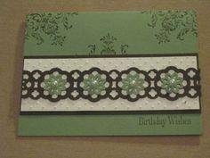 Lace ribbon border punch birthday card