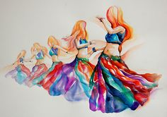 'belly dancer in motion' Poster by gerardo segismundo Dance Paintings, Indian Paintings, Watercolor Paintings, Watercolor Dancer, Dancer Drawing, Bd Art, Dancing Drawings, Tribal Belly Dance, Belly Dance Costumes