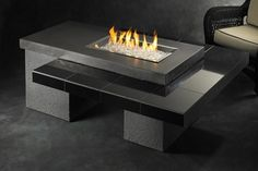 The Outdoor GreatRoom Company Uptown-K Crystal Concrete Propane/Natural Gas Fire Pit Table Color: Black / Gray Outdoor Fire Pit Table, Gas Fire Pit Table, Diy Fire Pit, Fire Pit Backyard, Outdoor Living, Outdoor Rooms, Propane Fire Pit Kit, Cozy Backyard, Outdoor Kitchens