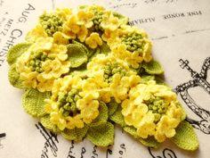 ハンドメイド レース編み 菜の花 シュシュ_画像1