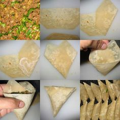 Pastry for samosas is usually available at Indian / Asian stores, alternatives include Chinese eggroll pastry or Greek filo pastry. Pliage Brick, How To Fold Samosas, Low Carb Dinner Recipes, Cooking Recipes, Mauritian Food, Samosa Recipe, Chaat Recipe, Snacks Saludables, Ramadan Recipes