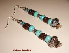 Very long dangle earrings rustic beaded by MahelieCreations, $8.00