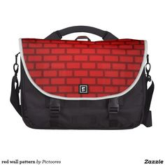 red wall pattern computer bag