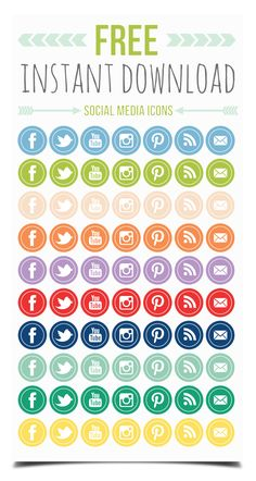Free social media icons from Print Smitten - based from Pantone's 2013 Sprint Color trend report