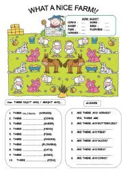 English worksheet: THERE IS / ARE + Animals (B&W version included!)