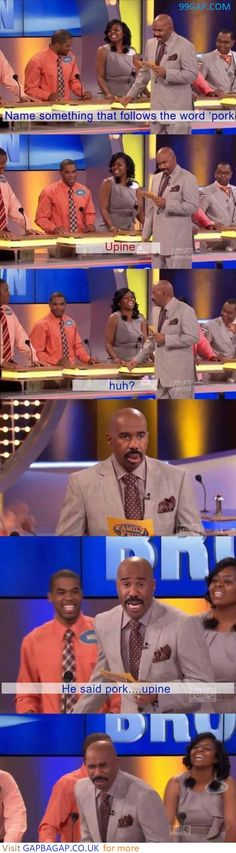 Funny Pictures Of Family Feud vs. Pork ft. Steve Harvey