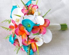 silk flowers turquoise, yellow, coral - Google Search