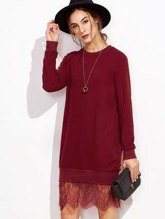 Burgundy Lace Trim Sweatshirt Dress