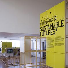 Modular, and square structures reflect the blocks that are inside the childrens museum