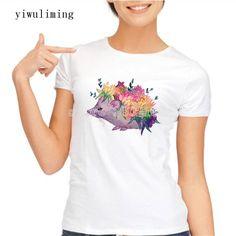 2017 Fashion Proud To Be Me Design women t-shirt short sleeve basic t shirts Creative Dots hedgehog printed tee shirts