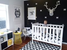 Black white and yellow kids room