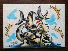 怪獣アーティストトレーディングカード47枚め。『ウルトラセブン』を代表する怪獣エレキング、得意技は電気ショック…こんなヤツが水辺にいたらとんでもなくキケンですね(^^;。 #ATCつくりました pic.twitter.com/aL86SSxQlT