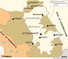 """Map that accompanied an article titled """"Disputed territories: Karabakh insists on the country's current area plus Shahumyan region.""""  Article posted November 28, 2008.  Source: Armenia Now."""