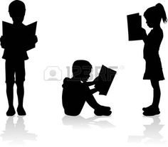 Silhouette of a child reading a book at. royalty-free silhouette of a child reading a book at stock vector art & more images of 2015 Silouette Art, Silhouette Clip Art, Free Silhouette, Silhouette School, Kids Reading Books, School Displays, Library Displays, School Murals, Free Vector Art